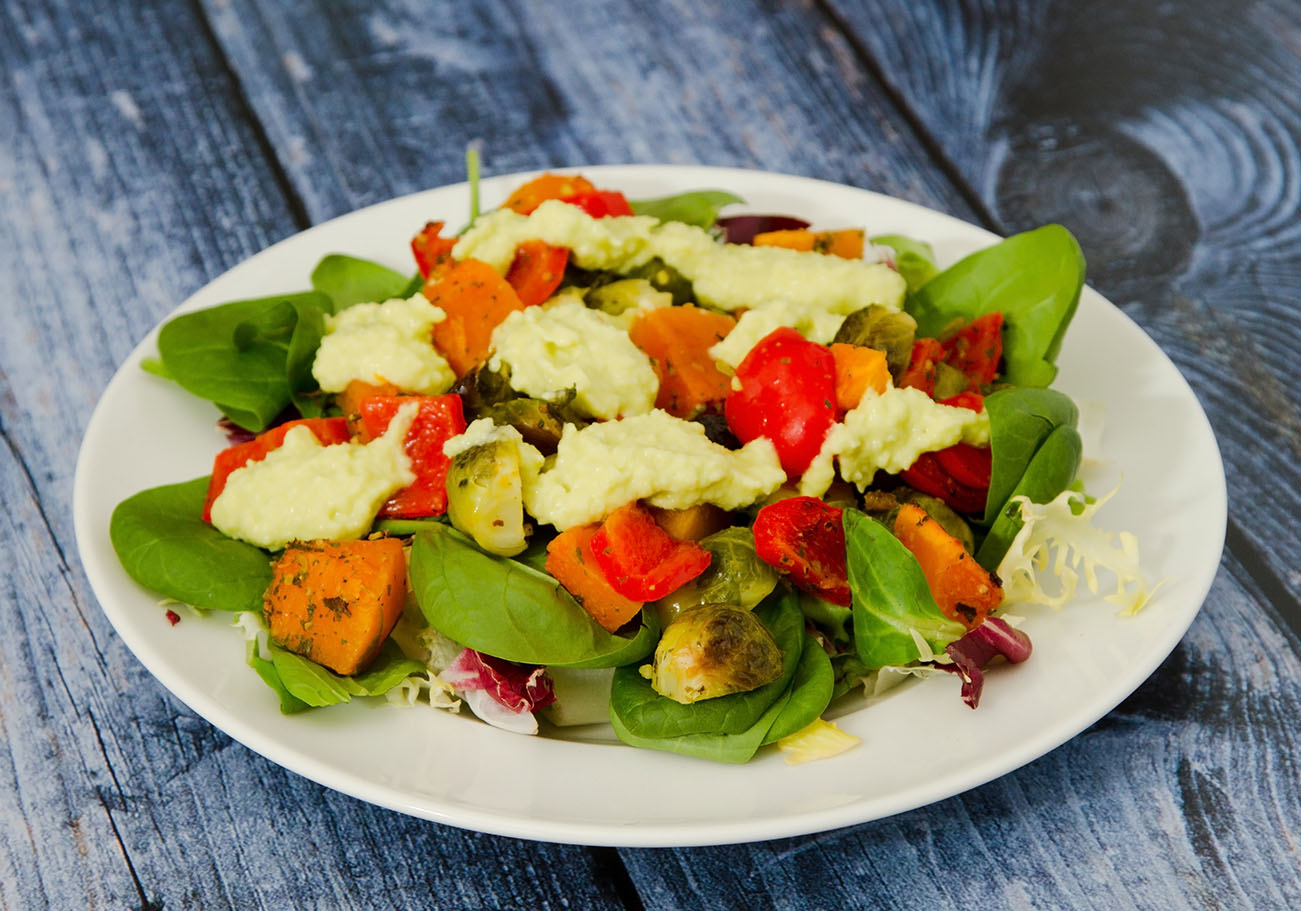 Hot vegetable salad with avocado dressing discoverflavor hot vegetable salad with avocado dressing sciox Images